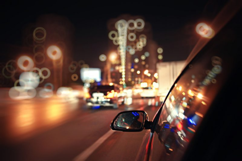 blurred urban look of the car movement nights