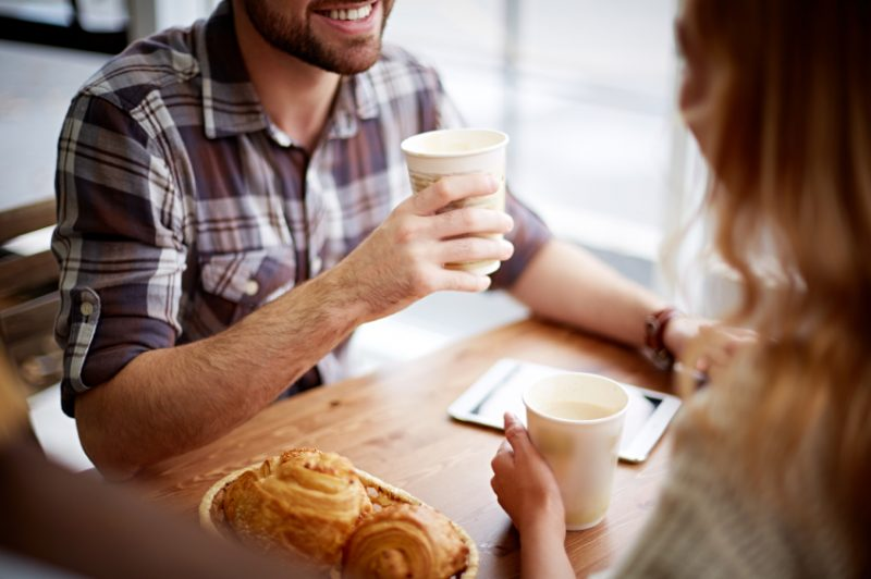 Chatting in cafe