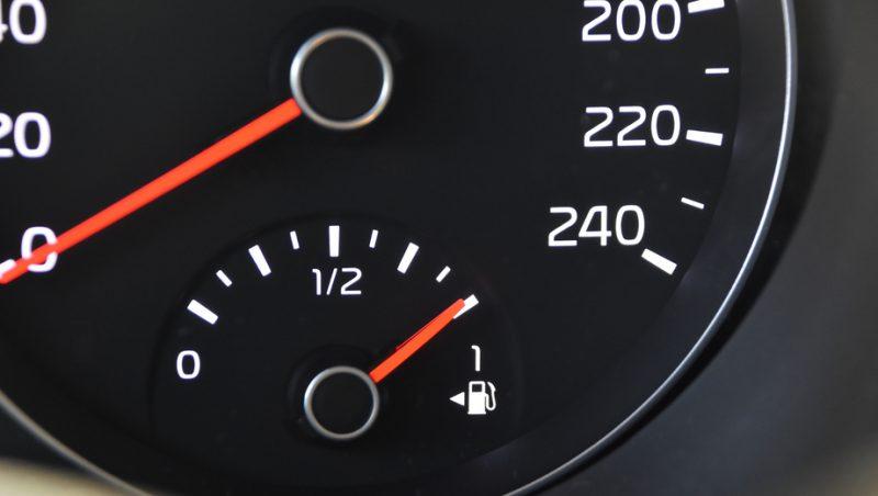 car fuel gauge indicating full