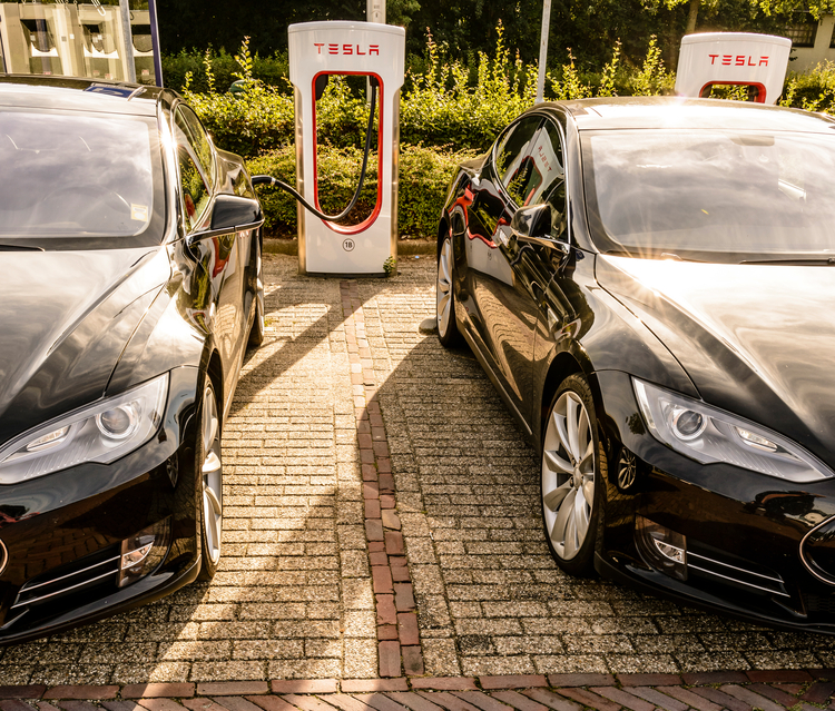 Tesla Model S electric cars at a supercharger charging station