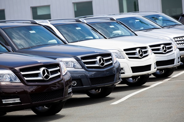 Halifax, Nova Scotia, Canada - May 29, 2011: New GLK-Class Mercedes Vehicles in a Row at Car Dealership.  Mercedes is a manufacturer of luxury vehicles and had a broad range of vehicles ranging from the entry-level B-Class to the range topping supercar the Mercedes SLS-AMG.