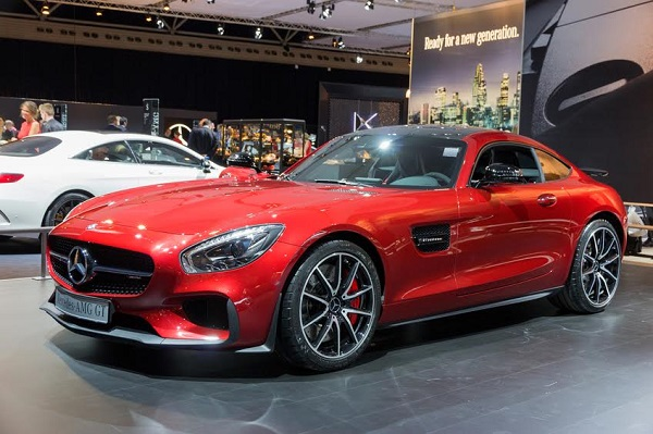 Amsterdam, The Netherlands - April 16, 2015: Mercedes-AMG GT sports car at the AutoRAI 2015.
