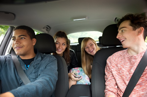 teenagers driving to college