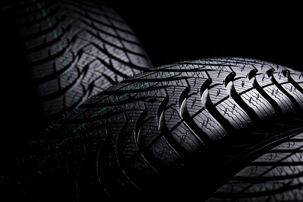"""""""Close up of the three high performance winter tires with modern treads (Michelin Alpin A4). Check my other tire photographs in my portfolio, more in"""""""